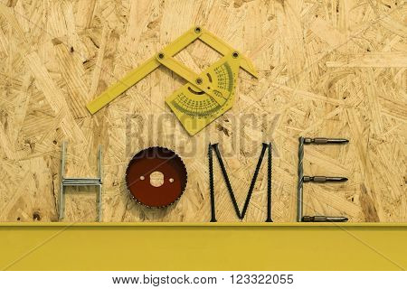 Fixing materials and tools for home repair sheet OSB