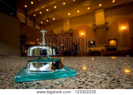 service ring bell at the reception of a hotel