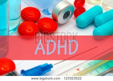 adhd. Vaccine to treat disease. Syringe and vaccine with drugs.