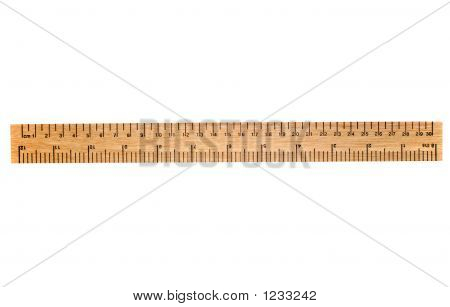 A 30 Cm Wooden Ruler, Isolated On A White Background.