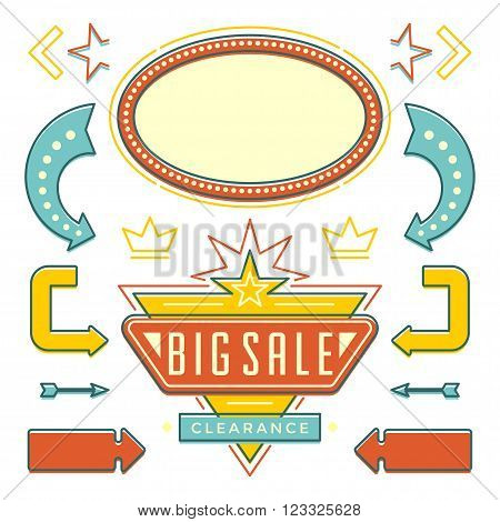 Retro American 1950s Sign Design Elements Set. Billboard Signage Light Bulbs, Frames, Arrows, Icons, Neon Lamps. For advertising, greetings cards, poster vector. Retro Sign, Vinage Frame.