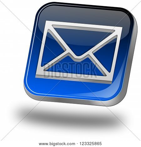 glossy blue e-mail button on bhite background