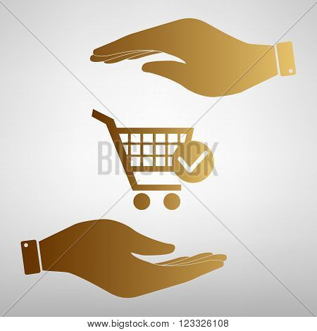 Shopping Cart and Check Mark Icon. Save or protect symbol by hands. Golden Effect.