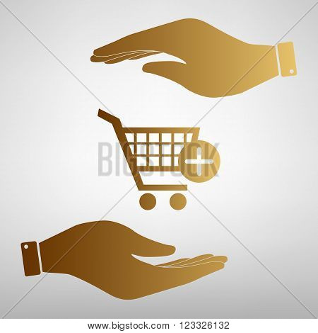 Shopping Cart and add Mark Icon. Save or protect symbol by hands. Golden Effect.