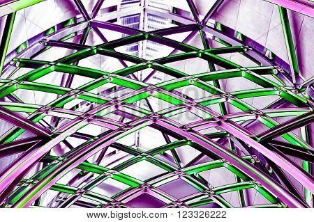 Abstract neon purple and green.  Steel rafters