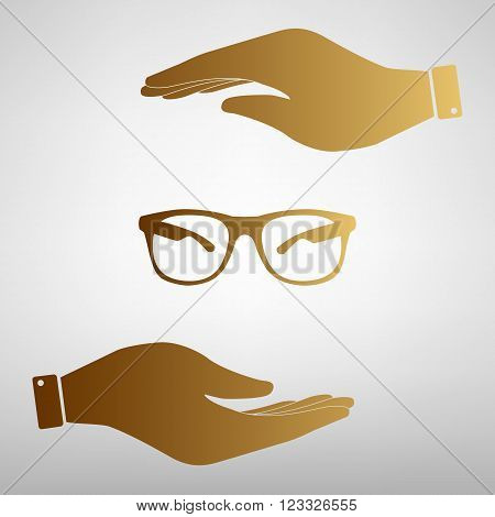 Sunglasses sign. Save or protect symbol by hands. Golden Effect.
