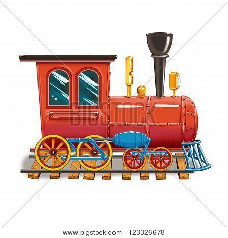 Steam locomotive on the tracks of a set of children's toys. Raster illustration