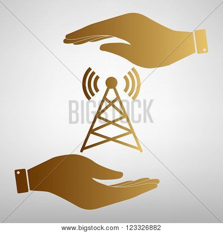 Antenna sign. Save or protect symbol by hands. Golden Effect.