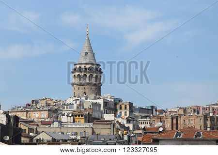 Galata Tower in Galata District Istanbul City Turkey