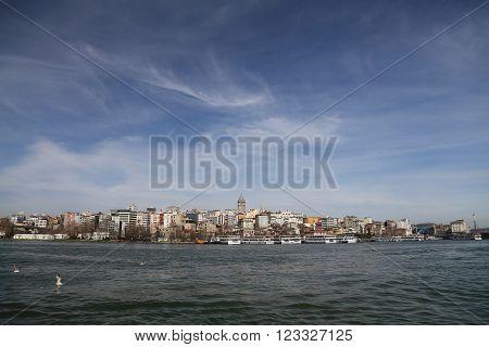 Karakoy and Galata Tower in Istanbul City Turkey