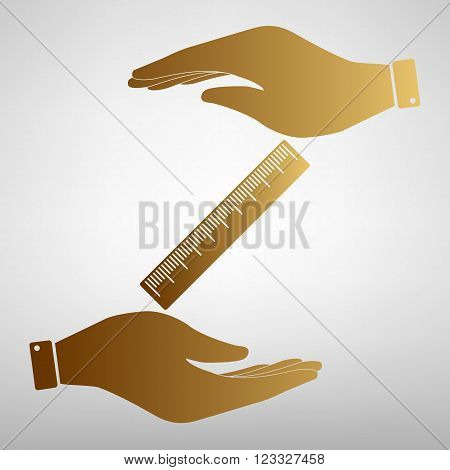 Centimeter ruler sign. Save or protect symbol by hands. Golden Effect.