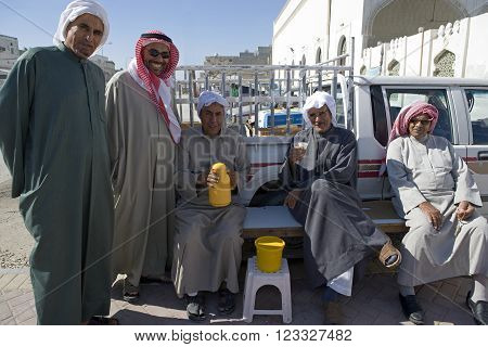 A'Ali, Bahrain - December 12 2006: Local people in coofee-breack near the earthenware factory of Jaffar Al Schugul.