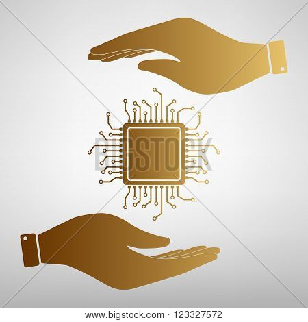 CPU Microprocessor. Save or protect symbol by hands. Golden Effect.