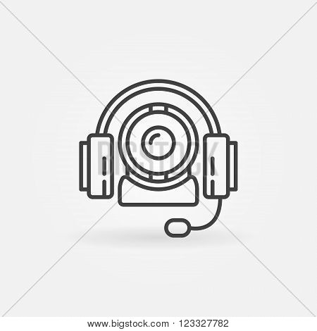 Online communication icon - vector video conference linear symbol or logo element. Thin line headphones with web cam sign