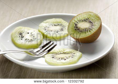 Kiwi Slices on a Dish