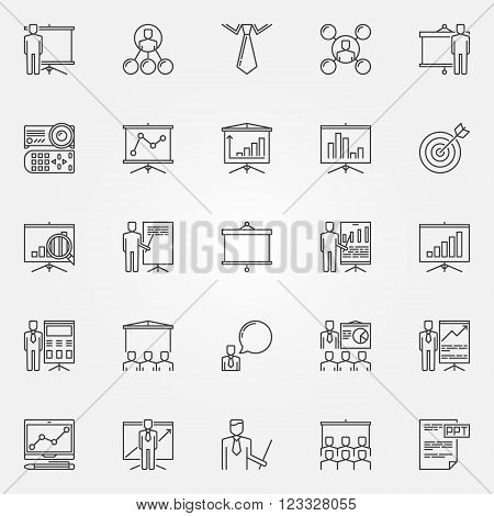 Presentation icons set - vector business presentation signs or logo elements in thin line style