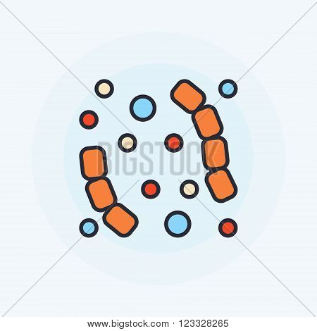 Flat virus icon - vector colorful bacteria or virus symbol or logo element. Virology or microbiology concept sign