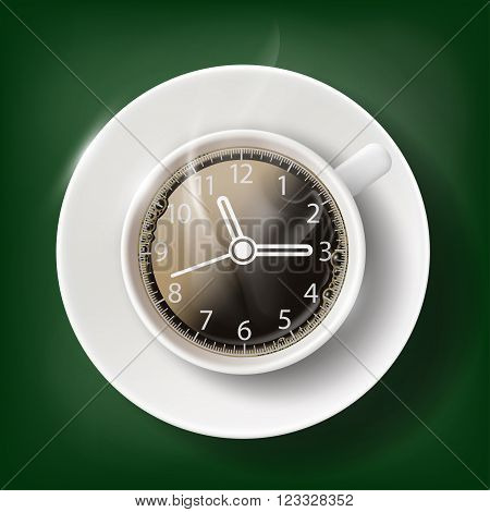 Cup of coffee with a clock face. Coffee break. Stock vector illustration.