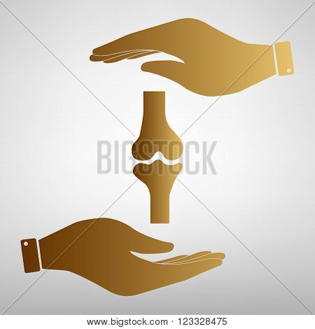 Knee joint  sign. Flat style icon vector illustration.