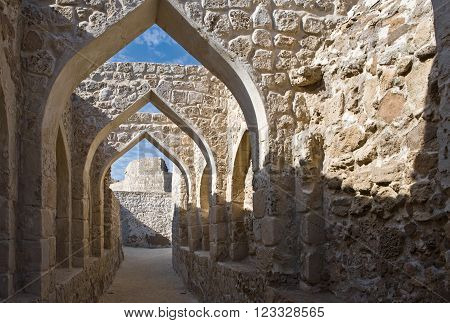 Manama, Bahrain - December 13, 2006: The inside of the Portuguese fort of the XVI century also known as Bahrain Fort.
