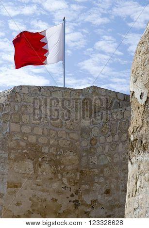 Manama, Bahrain - December 13, 2006: Detail of the Portuguese fort of the XVI century also known as Bahrain Fort.