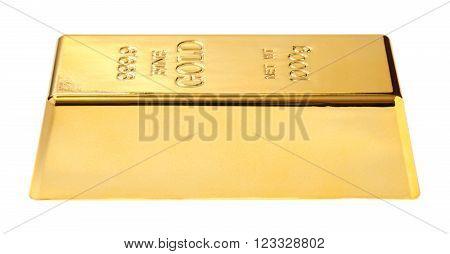 gold bullion close-up isolated on white background