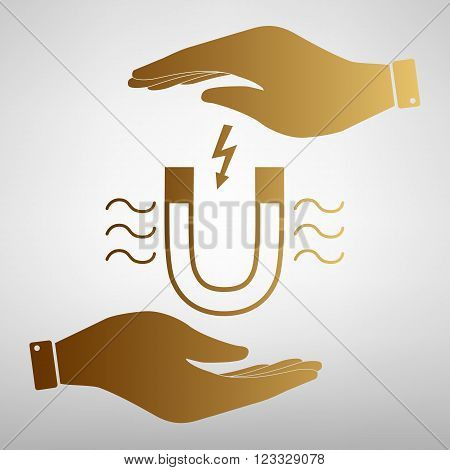 Icon of magnet with magnetic force indication. Save or protect symbol by hands. Golden Effect.