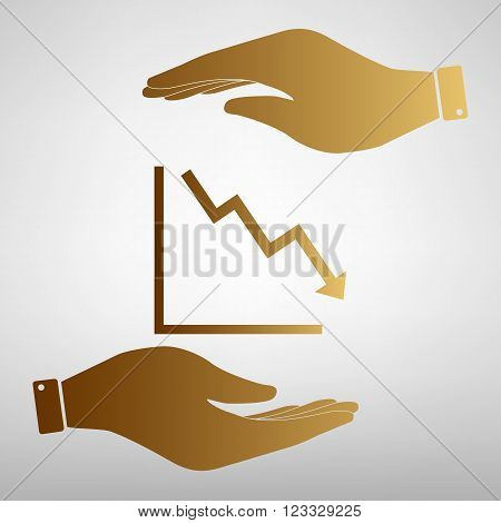 Arrow pointing downwards showing crisis. Flat style icon vector illustration.