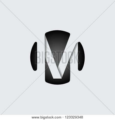Capital letter M. Made of wide white stripes Overlapping with shadows. Logo, monogram, emblem trendy design.