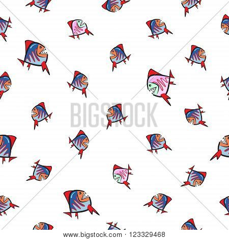 Chaotic colorful fish piranha different size seamless pattern.