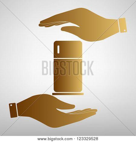 Refrigerator sign. Flat style icon vector illustration.