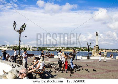 August 31 2011. Sevastopol. The quay of the Sevastopol city on a Sunny day. Crimea. Ukraine.