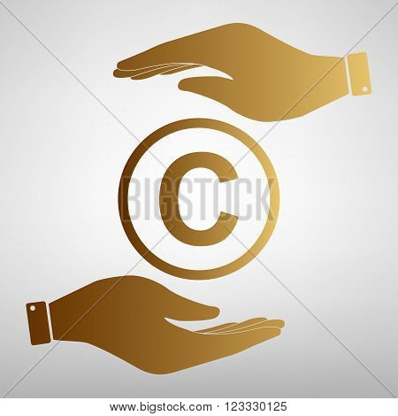 Copyright sign. Flat style icon vector illustration.