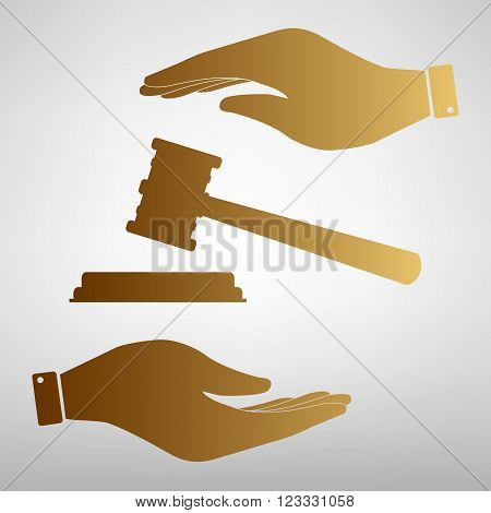 Justice hammer sign. Save or protect symbol by hands. Golden Effect.
