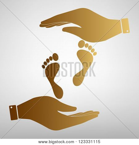 Foot prints sign. Flat style icon vector illustration.