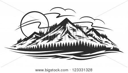Vector mountain landscape with trees mountains clouds and sun