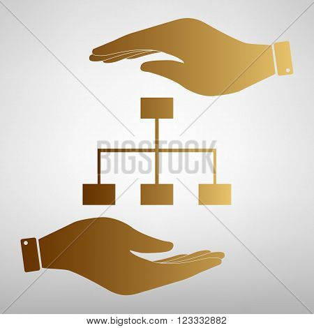 Site map sign. Save or protect symbol by hands. Golden Effect.