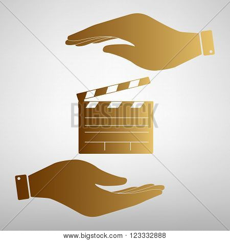 Film clap board cinema sign. Flat style icon vector illustration.