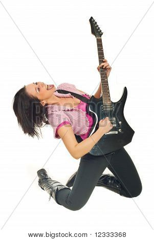 Rock Girl With Electronic Guitar