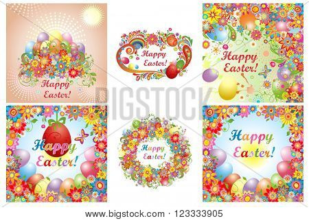 Set of Easter cards with colorful flowers and painted eggs