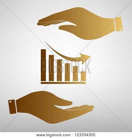Declining graph sign. Save or protect symbol by hands. Golden Effect.