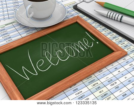 3D Image of Blackboard with welcome. Three-dimensional Shape