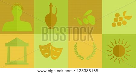 set of different icons on the theme of Greek culture.