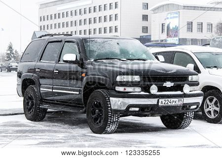 NOVYY URENGOY RUSSIA - FEBRUARY 2 2016: Motor car Chevrolet Tahoe in the city street.