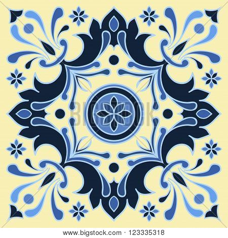 Hand drawing tile pattern in blue and yellow colors. Italian majolica style. Vector illustration. The best for your design textiles posters