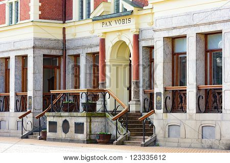 Kristianstad Sweden - March 20 2016: The town hall or city hall where the towns political administration is. Here is a detail of the stairs and the entrance.