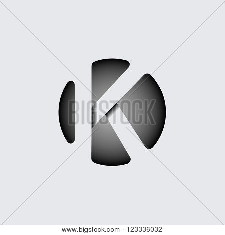 Capital letter K. Made of wide white stripes Overlapping with shadows. Logo, monogram, emblem trendy design.