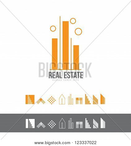 Vector company logo icon element template real estate line lineart contour house roof property residential realty realtor