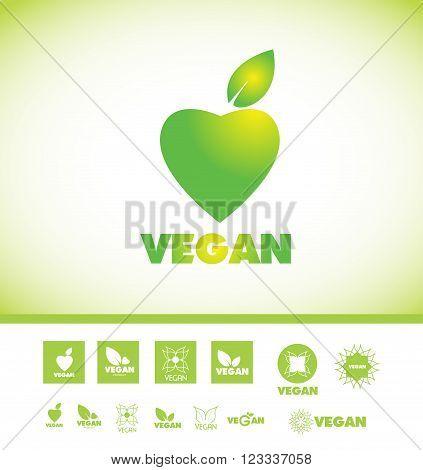 Vector company logo icon element template vegan veganism green leaf set