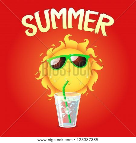 cartoon sun drinking water and typographic summer